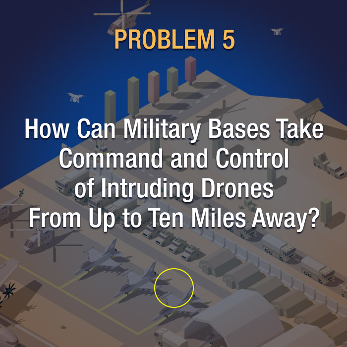 How can military bases take command and control of intruding drones from up to ten miles away?